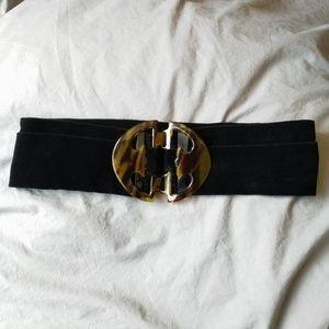 Accessories - Black Velvet & Tortoise Shell Wide Waist Belt